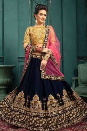 9000 Velvet Navy Blue Color Embroidery Lehenga Choli With Pink Dupatta