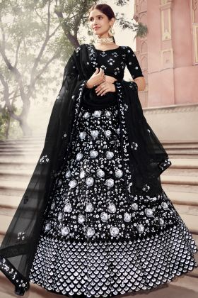A Luxuriant Black Color Soft Net Heavy Lehenga Choli For Reception