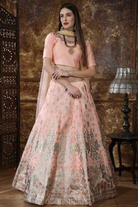 A - Line Lehenga Choli Peach Thai Silk Fabric