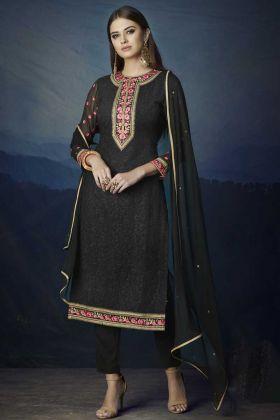 Aari Work Black Color Georgette Pant Style Salwar Kameez