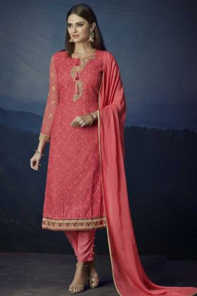 Aari Work Georgette Pant Style Suit In Pink Color