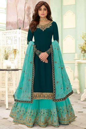 Aashirwad Fizza Teal Blue Georgette Semi Stiched Salwar Suit