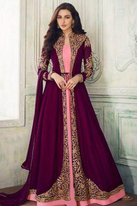 Aashirwad Wine Georgette Jacket Style Anarkali