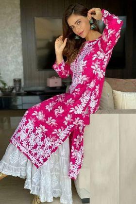 Actress Kashish Aamna Sharif  Rani pink colour salwar kameez