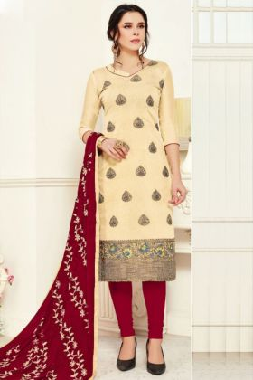 Admirable Banarasi Silk Cream Color Women Fancy Dress Material