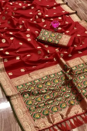 Admirable Maroon Color Pure Kanchipuram Full Weaving Silk Saree