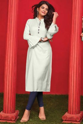 Admirable Off White Cotton Thread Embroidery Work Kurti