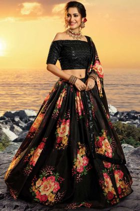 Admirable Pure Organza Black Color Lehenga Choli In Printed Sequence Work