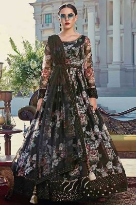 Adorable Black Color Abcotton With Digital Gown For Party Wear