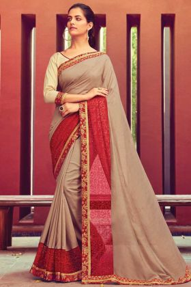 Adorable Embroidered Chanderi Silk Beige Saree With Red Border