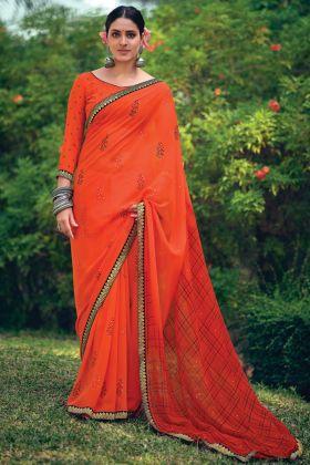 Adorable Orange Color Georgette Stone Work Printed Saree