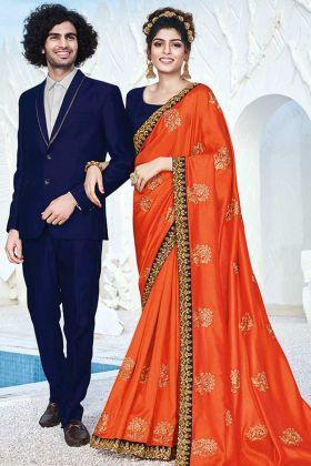 Adorable Orange Color Art Silk Ladies Saree