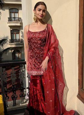 Alia Bhatt Maroon Palazzo Dress