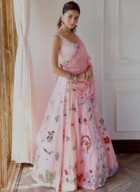 Alia Bhatt Powder Pink Printed Lehenga Choli