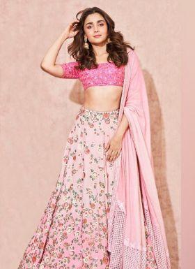 Alia Bhatt Wear Baby Pink Lehenga Choli