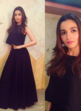 Alia Bhatt Wear Plain Black Lehenga Choli
