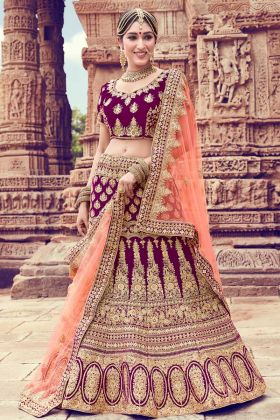 Alluring Purple Velvet Stone Work Designer Lehenga Choli For Sangeet Ceremony