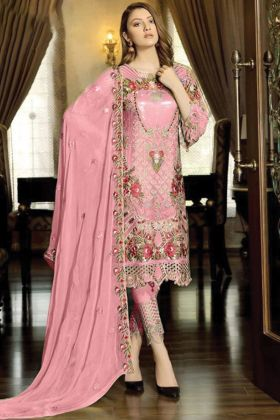 Amazing Embroidered Georgette Pant Style Pakistani Dress In pink Color