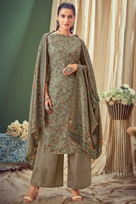 Amazing Fashion Grey Pure Wool Pashmina Suit