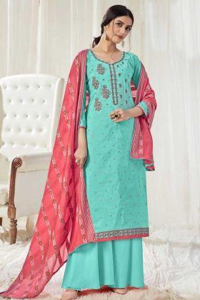 Amazing Fashion Pearl Mint Green Pure Dola Cotton Salwar Suit