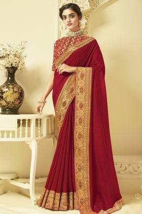 Amazing Fashion Red Color Art Silk Weaving Saree