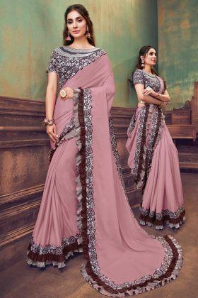 Amazing Fashion With Onion Pink Silk Georgette Saree