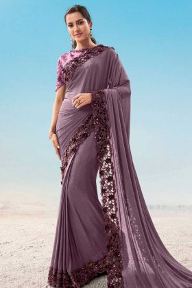 Amazing Fashion With Purple Imported Fabric Traditional Saree