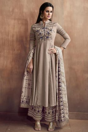 Amazing Full Stitched Beige Color Designer Salwar Dress In Heavy Muslin Silk Fabric