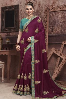 Amazing Look With Wine Soft Art Silk Saree