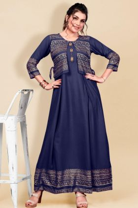 Amazing Navy Blue Heavy Rayon Ladies New Arrival Casual Dress