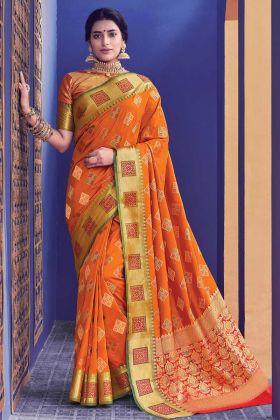 Amazing Orange Banarasi Silk Weaving Saree