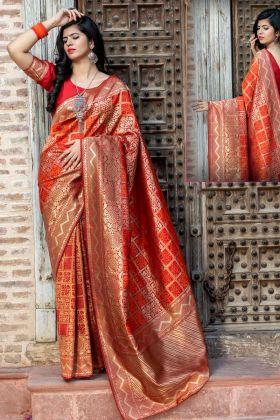 Amazing Red Color New Designer Banarasi Silk Heavy Saree