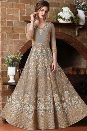 Amazing Grey Net Designer Anarkali Salwar Suit With Embroidery Work