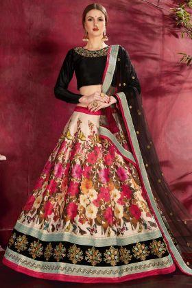 Amazing Peach Color Party Wear Lehenga Choli With Art Silk Fabric