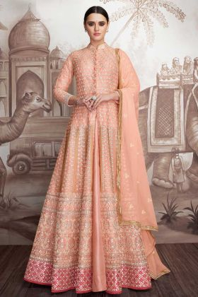 Anarkali Dress Georgette Peach Color For Diwali