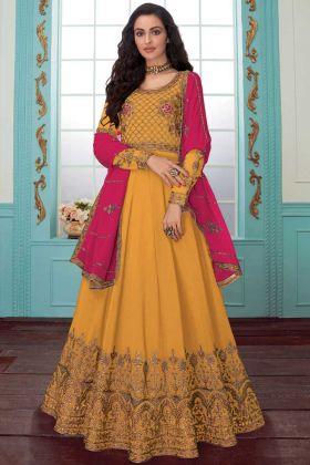 Anarkali Dress Georgette Yellow Color For Haldi Rasam
