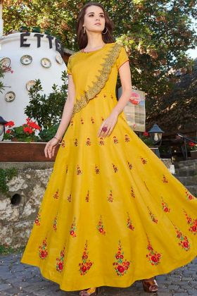 Anarkali Gown Linan Satin Yellow Color