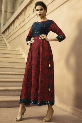 Anarkali Kurti Printed Rayon With Maroon And Navy Blue Color