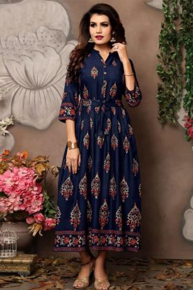 Anarkali Long Kurti Rayon Fabric In Foil Print