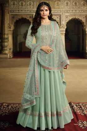 Prachi Desai Anarkali Suit Dresses In Soft Silk Aqua Blue Color