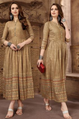 Anarkali Kurti Rayon Fabric Beige Color Printed Work