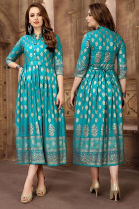 Anarkali Kurti Rayon Fabric Cyan Color Printed Work