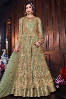 Anarkali Style Salwar Suit Net Pastel Green Color For Girls
