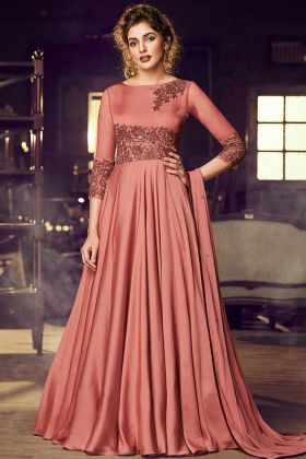 Anarkali Suit Dusty Peach Color Modal Satin Fabric For Girls