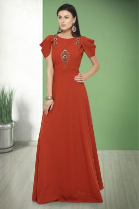 Anisha Silk Red Party Wear Gown