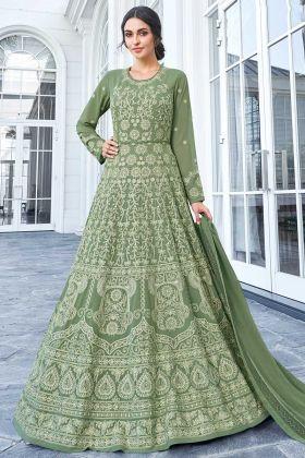 Apple Georgette Anarkali Dress Embroidery In Green Color