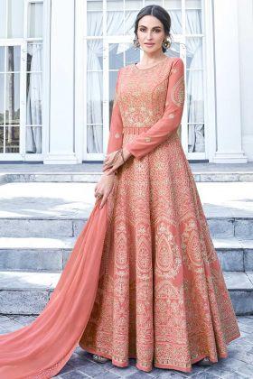 Apple Georgette Anarkali Dress Embroidery Work In Peach Color