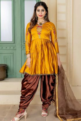 Apricot Color Malai Satin Punjabi Salwar Suit With Embroidery Work