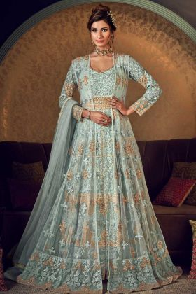 Aqua Blue Jacket And Gown Butterfly Net Indo Western Suit