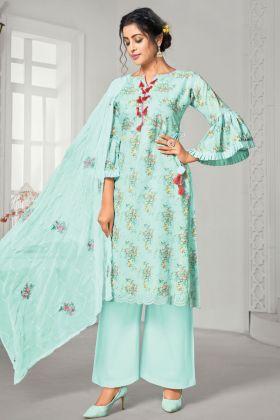Aqua Color Pure Jam Cotton Plazzo Suit